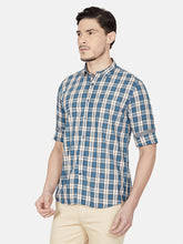 Load image into Gallery viewer, Men's Slim-fit Checked Casual Shirt-OJN1430FDark Blue