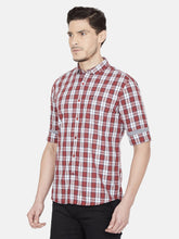 Load image into Gallery viewer, Men's Slim-fit Checked Casual Shirt-OJN1430FMaroon