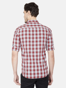 Men's Slim-fit Checked Casual Shirt-OJN1430FMaroon