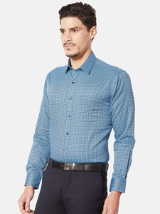 Men's Slim-fit Printed Formal Shirt-OP6157FBlue