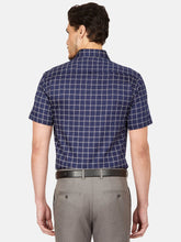 Load image into Gallery viewer, Men's Slim-fit Checked Formal Shirt-OP6524HDark Blue