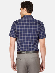 Men's Slim-fit Checked Formal Shirt-OP6524HDark Blue