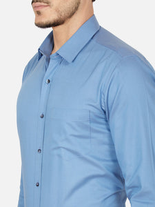 Men's Cotton Slim-fit Formal Shirt-OPSL6029FBlue