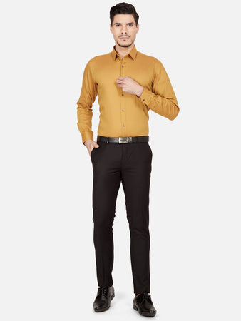 Men's Cotton Slim-fit Formal Shirt-OPSL6029FMustard yellow
