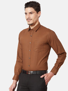 Men's Slim-fit Printed Formal Shirt-OPSL6186FBrown