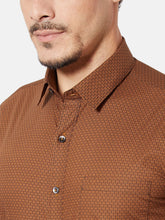 Load image into Gallery viewer, Men's Slim-fit Printed Formal Shirt-OPSL6186FBrown