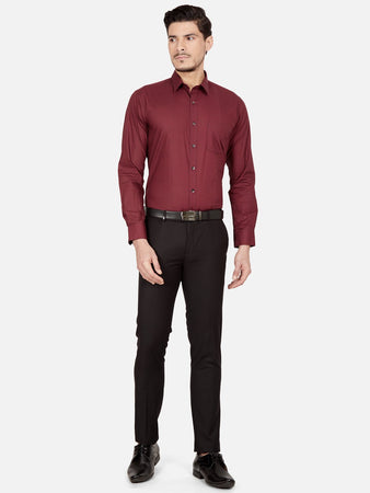 Men's Slim-fit Printed Formal Shirt-OPSL6186FMaroon