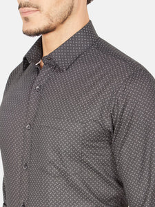 Men's Slim-fit Printed Formal Shirt-OPSL6187FBlack