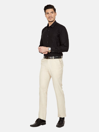 Men's Cotton Slim-fit Formal Shirt-OPSL6340FBlack