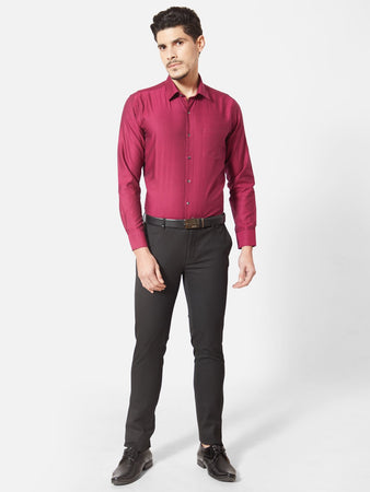 Men's Red Slim-fit Formal Shirt-OPSL6340FRed