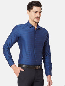 Men's Cotton Slim-fit Striped Formal Shirt-OPSL6516FNavy Blue