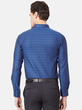 Load image into Gallery viewer, Men's Cotton Slim-fit Striped Formal Shirt-OPSL6516FNavy Blue