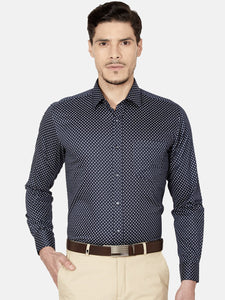 Men's Cotton Slim-fit Formal Shirt-OPSL6565FNavy Blue