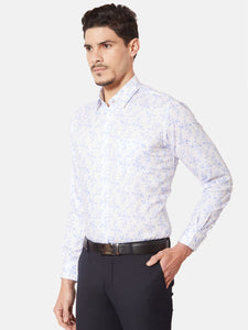 Men's Printed Cotton Formal Shirt-OPSL6574FBlue