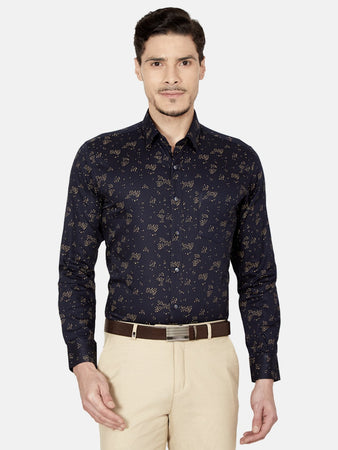 Men's Slim-fit Printed Formal Shirt-OPSL6575FBlack