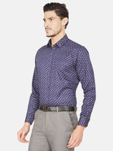 Load image into Gallery viewer, Men's Slim-fit Printed Formal Shirt-OPSL6577FNavy Blue