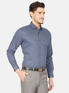 Men's Slim-fit Printed Formal Shirt-OPSL6626FNavy Blue