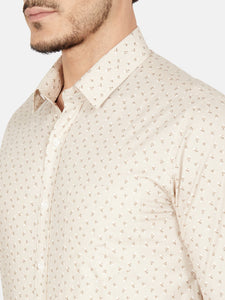 Men's Slim-fit Printed Formal Shirt-OPSL6627FBeige