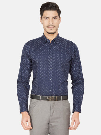 Men's Slim-fit Printed Formal Shirt-OPSL6630FNavy Blue
