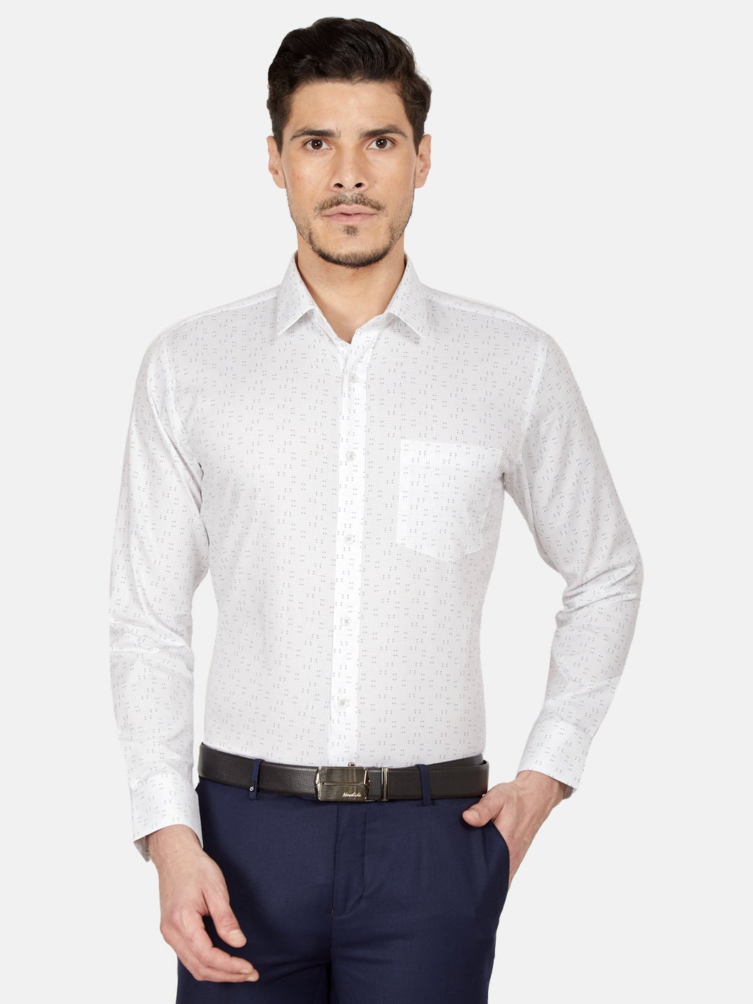 Men's Slim-fit Printed Formal Shirt-OPSL6630FWhite