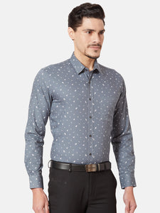Men's Slim-fit Printed Formal Shirt-OPSL6639FGrey