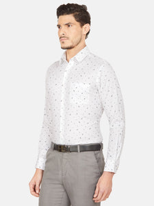 Men's Slim-fit Printed Formal Shirt-OPSL6639FWhite