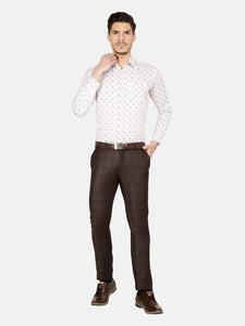 Men's Slim-fit Printed Formal Shirt-OPSL6648FWhite