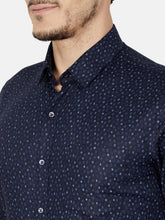 Load image into Gallery viewer, Men's Slim-fit Printed Formal Shirt-OPSL6802FNavy Blue