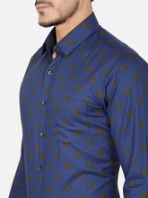Load image into Gallery viewer, Men's Slim-fit Printed Formal Shirt-OPSL6805FBlue
