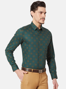 Men's Slim-fit Printed Formal Shirt-OPSL6805FGreen