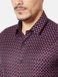 Men's Slim-fit Dobby Formal Shirt-OXSL3285FWine