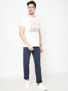 Men's Cotton Printed T-shirt-TC2445White