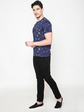 Men's Cotton Printed T-shirt-TC2467Navy blue