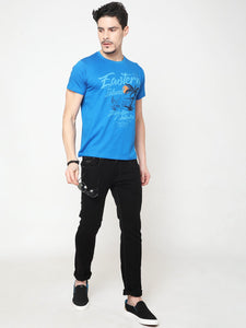 Men's Cotton Printed T-shirt-TC5249Blue