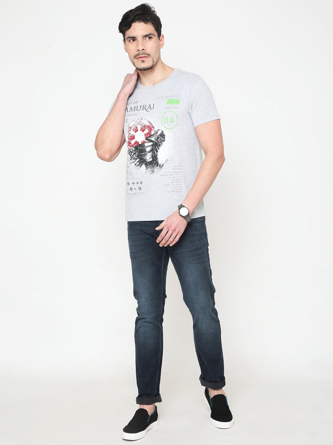 Men's Cotton Crew Neck T-shirt-TC6276Grey