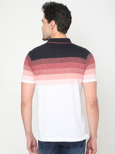 Men's Cotton Striped Polo Neck T-shirt-TP2473Red