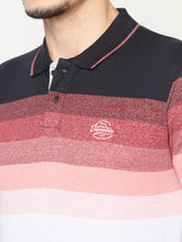 Load image into Gallery viewer, Men's Cotton Striped Polo Neck T-shirt-TP2473Red
