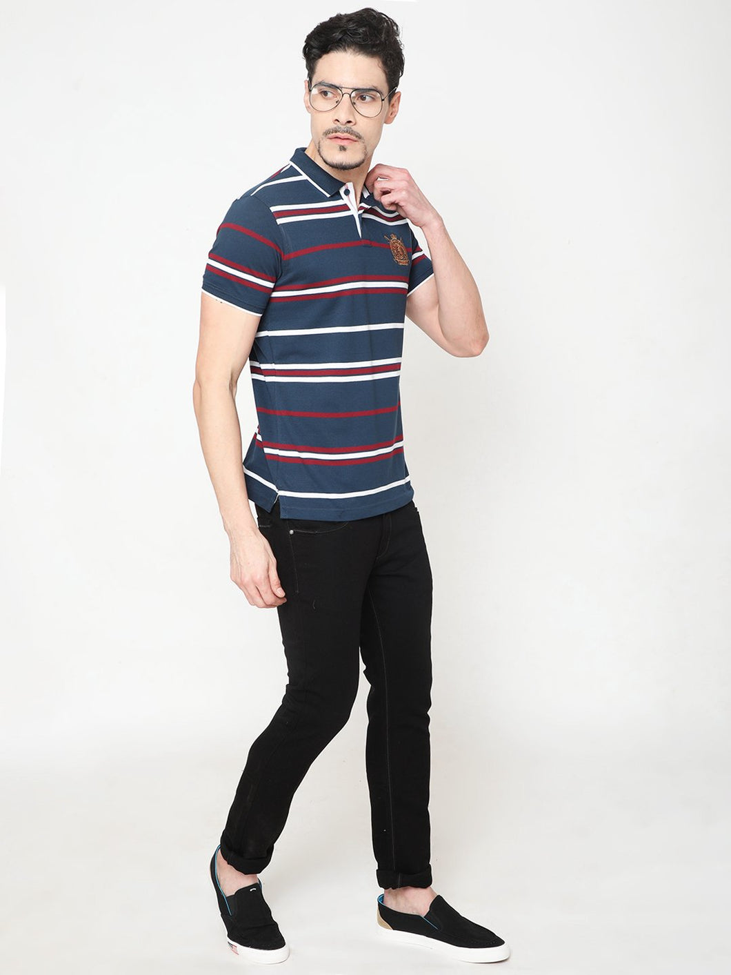 Men's Cotton Polo Neck T-shirt-TP2483Dark blue