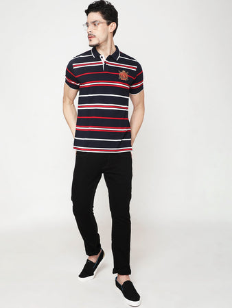Men's Cotton Polo Neck T-shirt-TP2484Navy blue