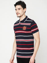 Load image into Gallery viewer, Men's Cotton Polo Neck T-shirt-TP2484Navy blue