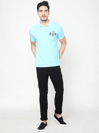 Men's Cotton Polo Neck T-shirt-TP2486Light blue