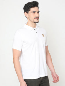 Men's Cotton Polo Half-sleeve T-Shirt-TPCS3011HWhite