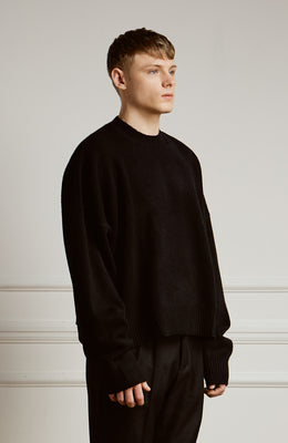 Cropped Lambswool Sweater Black