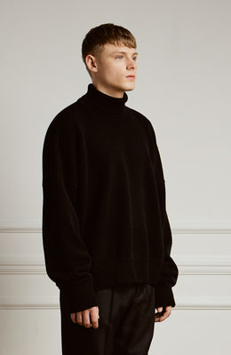 Lambswool Roll Neck Sweater Black