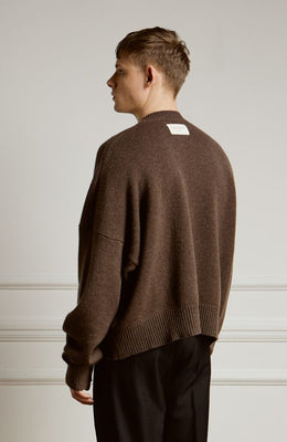 Cropped Lambswool Sweater Brown