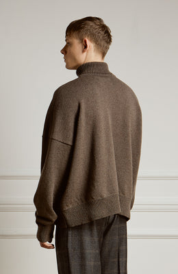 Lambswool Roll Neck Sweater Brown