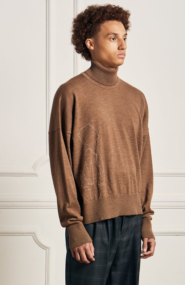 Merino Roll Neck Brown