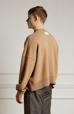 Cropped Lambswool Sweater Camel