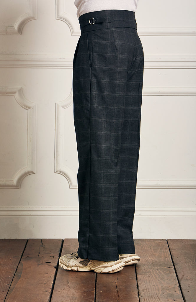 Check Wide Leg Wool Trousers