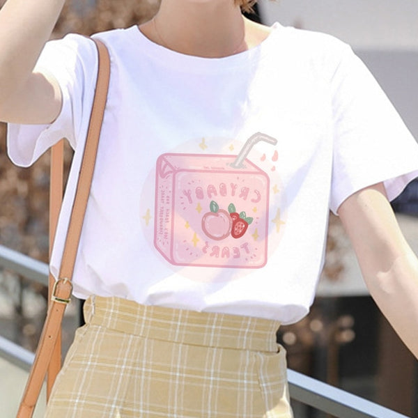 Kawaii Pink Summer Casual Tumblr Outfit Fashion Tops Cartoon Peach Juice Japanses Aesthetic Grunge T shirt Women Harajuku Cute